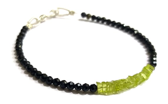 Dainty Tourmaline Tiny Bracelet Peridot-Apatite Smooth Square Beads Bracelet Tourmaline Jewelry Bracelet Black Tourmaline Bracelet