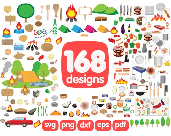 Camping Clipart Bundle Camping Svg Tent Clipart Campfire Etsy