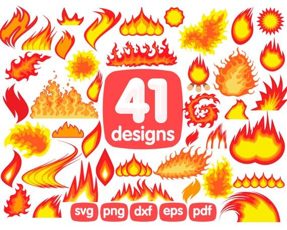 Fire Clipart Bundle Flames Clipart Svg Etsy