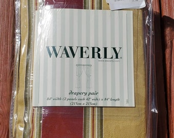 Vintage Pair Waverly Capulet Stripe Antique Gold Rod Pocket Curtain Panels with Matching Tiebacks New Old Stock