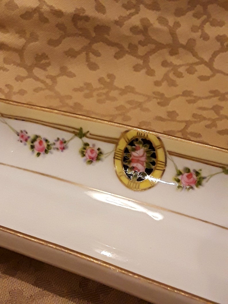 Antique Nippon Footed Olive Dish Porcelaine Rose Roses Victorian Shabby Cottage Chic