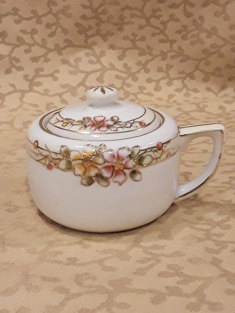 Antique Nippon Mustard Pot Main Peinte rose Orange Cherry Blossoms Shabby Cottage