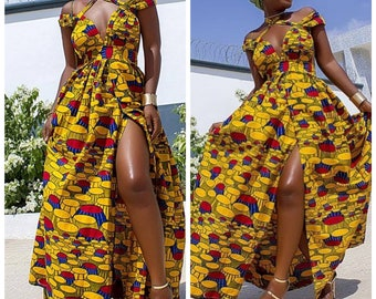 fc5f063cc265 Yellow african infinity wrap dress / african print maxi dress / ankara maxi  dress / long African summer dresses / African clothing for women