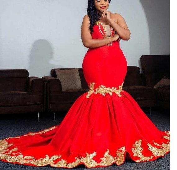 Red African Wedding Dress Mermaid African Dress Red Mermaid Etsy