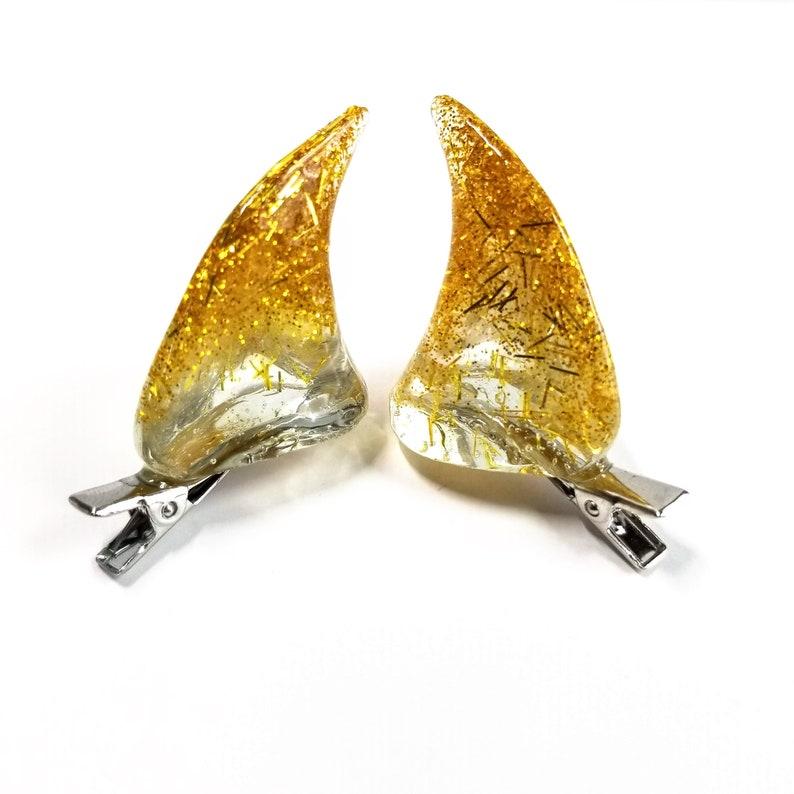 LIGHT GOLD  Resin Clip-On Devil Horns image 0