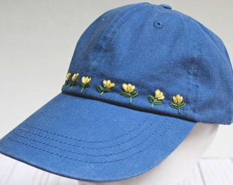 Embroidered Hat with Yellow Flowers, Hand Embroidered Baseball Cap, Wildflower Hat, Denim Dad Hat