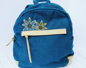 Hand Embroidered Backpack with Sunflowers | Blue Canvas Bag with Floral Embroidery | School Bookbag | Unique One of a Kind Back Pack