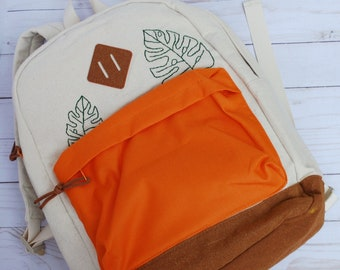 Hand Embroidered Backpack with Monstera Leaves | Tan Cream and Orange Color Block Bag with Leaf Embroidery | School Bookbag