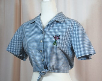 Embroidered Retro Crop Top with Flowers | Checkered Gingham Floral Shirt with Purple and Blue Flowers | Hand Stitched Clothing | Tie Up
