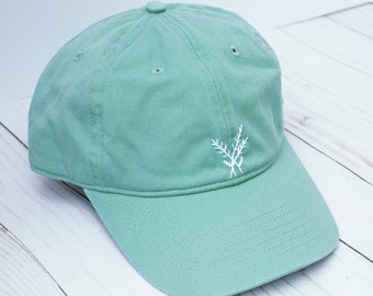 Hand Embroidered Mint Teal Hat with Simple White Flowers | Floral Embroidery Baseball Cap | Summer Hat | Minimalist | Blue Green Seafoam