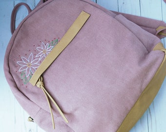 Hand Embroidered Backpack with Daisy Flowers | Pink Canvas Bag with Floral Embroidery | School Flower Bookbag | Wildflower Nature Back Pack