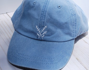 Hand Embroidered Light Blue with Simple White Flowers | Floral Embroidery Baseball Cap | Summer Hat | Minimalist | Denim Sky Blue
