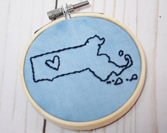 Massachusetts State Embroidery Hoop Decoration   MA Wall Hanging 3 Inch Circle   Hand Embroidered New England Decor
