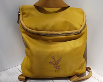 Hand Embroidered Dark Gold Yellow Backpack Crossbody with Simple Purple Flowers | Recycled Plastic Bag Purse | Simple Hand Embroidery