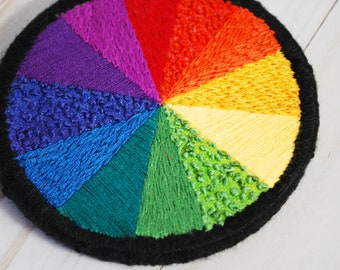 Color Wheel Hand Embroidered Hoop Wall Hanging   Rainbow Embroidery Hoop Stitch Sampler   Color Spectrum Art   Abstract Colorful Decoration