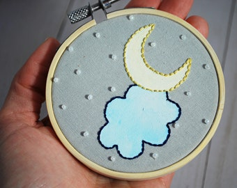 Hand Embroidered Moon and Stars Hoop 3 Inch   Decoration for Nursery Baby Room   Night Sky Ornament with Crescent Moon   Baby Shower Gift