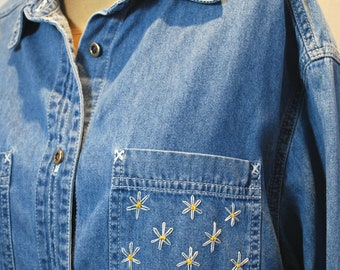 Hand Embroidered Denim Shirt with Daisy Flowers