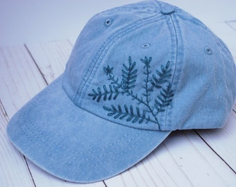 Hand Embroidered Light Blue with Simple Navy Blue Flowers | Floral Embroidery Baseball Cap | Summer Hat | Minimalist | Denim Sky Blue