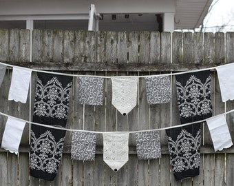 Black, Cream and White Assorted Vintage Fabric Buntings