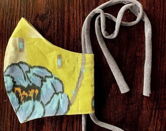 Made in USA | Washable Face Mask with Filter Pocket, Two Layers, Cotton, Designer Prints, Easy Soft Tie, Big Flower