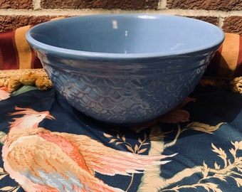 Vintage Oven Proof Periwinkle Blue Bowl with Scale Design
