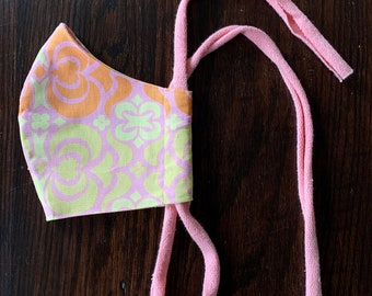 Made in USA | Washable Face Mask with Filter Pocket, Two Layers, Cotton, Designer Prints, Easy Soft Tie, Pastel Peach