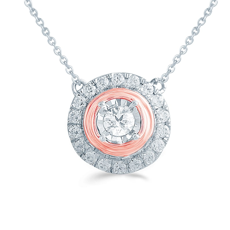 14CT TW Diamond Round Halo Necklace in Sterling silver /& 10K Rose
