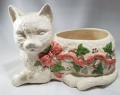 Vintage Holiday Cat Planter LTD 1989 White Cat Christmas Indoor Planter Red Bow and Holly Designed Cat Planter