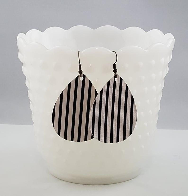 Birthday gift for her Fall Floral Earrings Teardrop Handmade Faux Leather Teardrop Earrings Black and White Striped Earrings