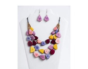 Tagua Nut Earrings  Tagua Nut Jewelry  Organic Jewelry  Pink Blue Tagua Earrings
