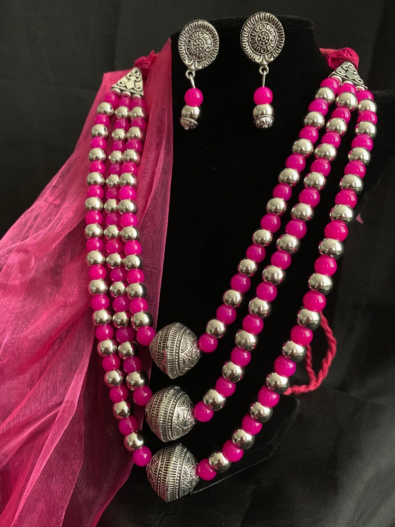 Hand crafted thread oxidized necklace with dangle matching earrings Boho JewelryIndian Ethnic Oxidized Jewelry
