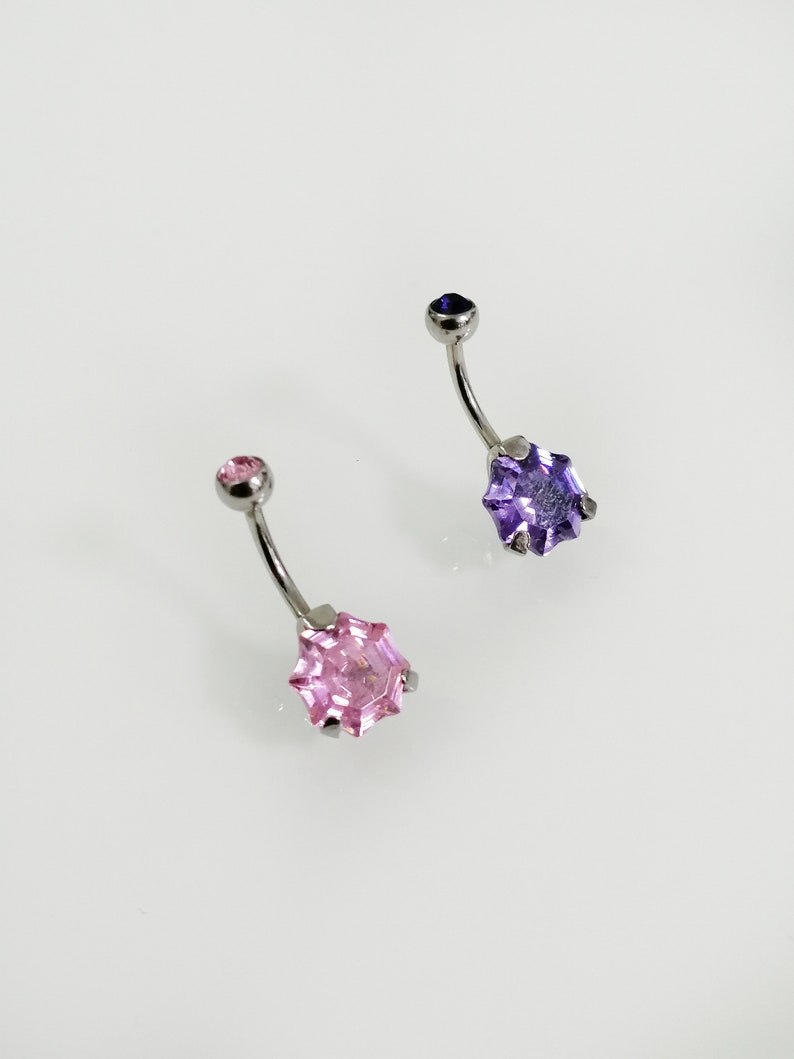 Polygon Diamond cut Belly ring gemstone Belly Jewelry Hypoallergenic Simple ssteel,minimal Belly piercing Navel piercing