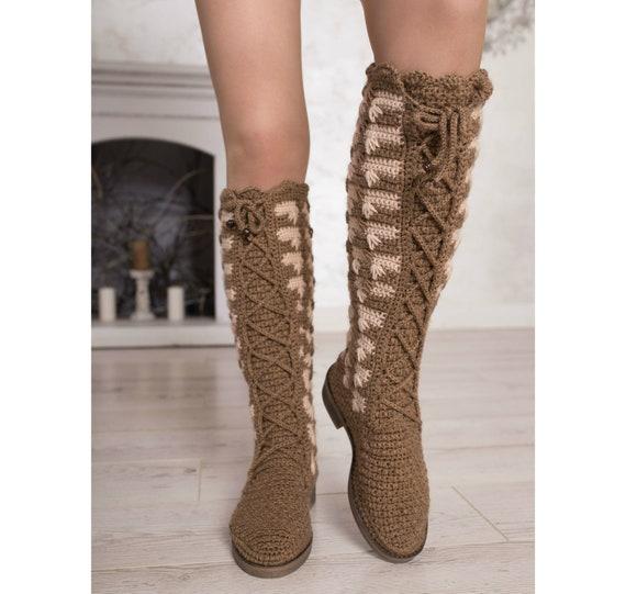 Ugg boots women Crochet winter boots