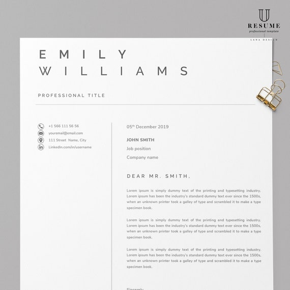 Simple Cover Letter Template Cover Letter Letterhead Word Etsy