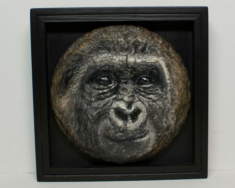 Gorilla-Painting on Slate-Unique Gift-Wall Art-Home image 0