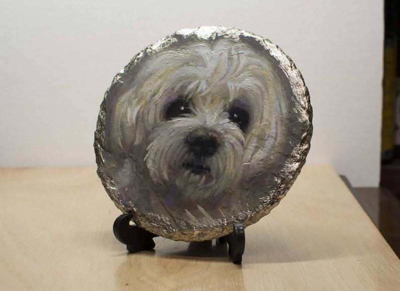 Bichon Frise-Oil on Slate-Pet Portrait-Unique Gift-Home Decor image 0