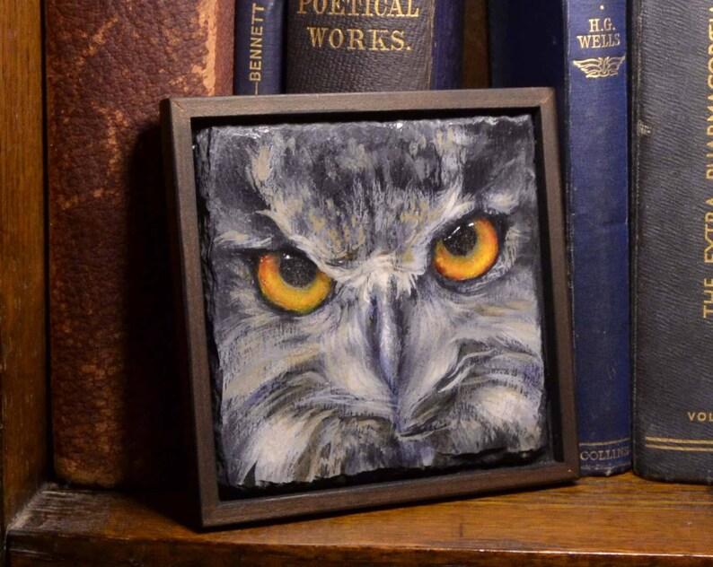 Bright Eyed Owl-Oil On Slate-Unique Gift-Home Decor-Framed image 0