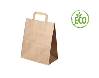 Brown paper bags with flat handles, lot/10 bags