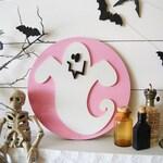 Ghost Round 12 inch Pink Spooky Halloween Wooden Sign Wall Hanger Door hanger mantle decor