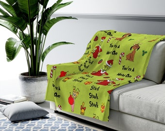 Grinch Holiday Blanket / Cozy Christmas Blanket