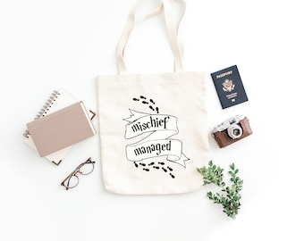 Mischief Managed Tote / Hogwarts Bag / Potter Christmas Gift / Hogwarts Youth Bag