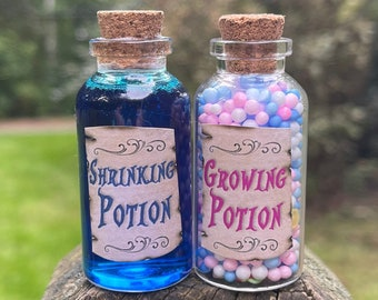Shrinking and Growing Potions/ Alice in Wonderland Gift / Eat Me, Drink Me Potion / Party Centerpiece / Disney Cruise FE Fish Extender /