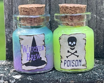 Witches Brew and Poison Potion / Miniature Halloween Tonics / Glow in the Dark Potions for Kids / Hocus Pocus