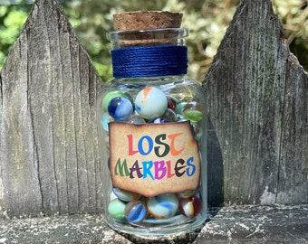 Large Marbles Bottle / Lost Marbles / Peter Pan Gift / Baby Shower Nursery / Disney Cruise Fish Extender FE / Lost Boys / Tinker Bell