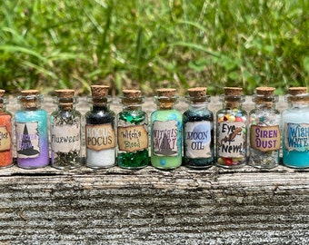 Witch's Potions /  Brewing Potions / Witch's Brew / Broomstick Fleas / Hocus Pocus / Halloween Magic Potions / Eye of Newt / Moon Oil /