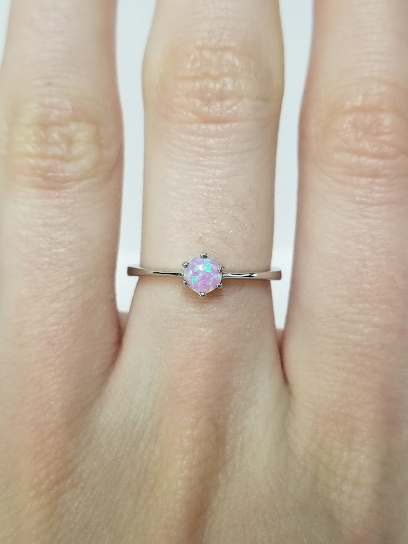 Petite Pink Opal Ring 925 Sterling Silver Stackable Ring Beautiful Gift