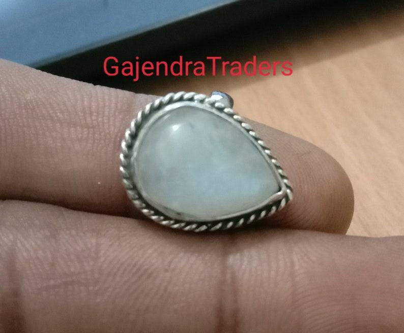 Designer 925 Sterling Silver Ladies Moonstone Pear Cut Gemstone Ring Ideal Gift