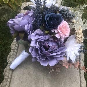 Blue purple Bouquet Navy grey Bouquet ElegantArrangements8 Rustic bouquet Boho bouquet Winter Wedding Bouquet Wedding Bouquet