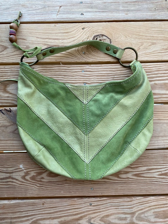 Vintage Fpssil Suede Leather Lime Green Retro Bag