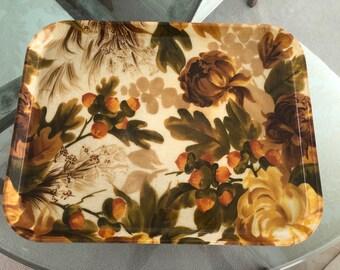 Vintage Retro Eating Tray Floral Olive Orange 60s 70s 10X15